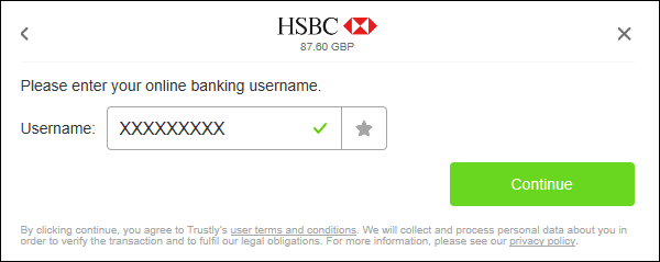 Instant via Trustly bank login