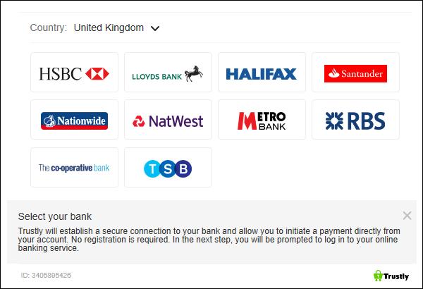 Instant via Trustly banks